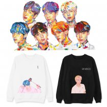 Kpop BTS Sweater Bangtan Boys Round Collar Sweater Hand-painted New Jacket Autumn Winter Top