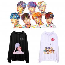 Kpop BTS Sweater Bangtan Boys Hooded Sweater New Hand-painted Print Spring and Autumn Thin Jacket V JIN JUNG KOOK