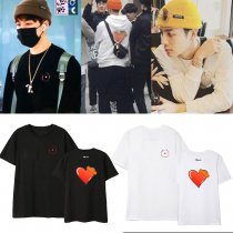 Kpop GOT7 T-shirt BULLET TO THE HEART Album Mirrors Same Short Sleeve Bottoming Shirt JACKSON