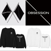 Kpop EXO 6 Series OBSESSION Round Neck Sweatshirt Jacket Plus Velvet Thin Spring and Autumn Sweatshirt