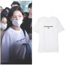 Kpop TWICE JungYeon Airport T-Shirt INS Korean Loose Simple Short Sleeve