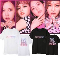 Kpop BLACKPINK T-shirt Korean Loose Gradient Pattern Couple Short Sleeve T-shirt Top