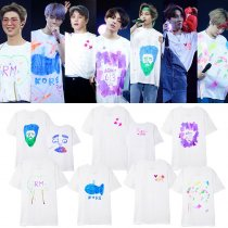 Kpop BTS Bangtan Boys T-shirt Concert with Short-sleeved Hand-painted Graffiti Print T-shirt V JIN JIMIN