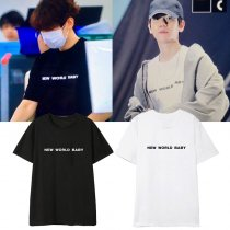 Kpop EXO T-shirt BaekHyun Street Shot With The Same Paragraph Short-sleeved Korean Loose T-shirt Couple T-shirt