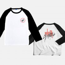 Kpop STRAY KIDS T-shirt Colorblock Round Neck 3/4 Sleeve T-shirt Top