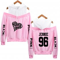 Kpop BLACKPINK Sweatshirt Hoodie Thin Korean Fake Two Off Shoulder Hoodie JENNIE JISOO LISA ROSE