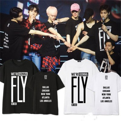 ALLKPOPER Kpop GOT7 FLY IN USA Tshirt FLIGHT LOG:DEPARTURE T-shirt Jackson Tee Mark Cotton