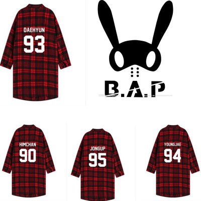 ALLKPOPER KPOP BAP Shirt Live On Earth Awake Red Plaid B.A.P Unisex Three-Quarter Tshirt