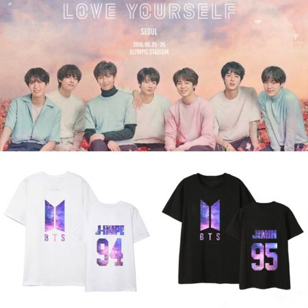 K-POP BTS T-shirt Bangtan Boys Love Yourself Starry Sky Tshirt Suga Jin V JIMIN