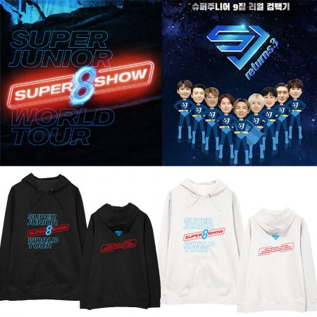 KPOP SUPER JUNIOR sweater World Tour Concert SUPER SHOW 8 surrounding the same paragraph hooded sweater loose hooded clothes