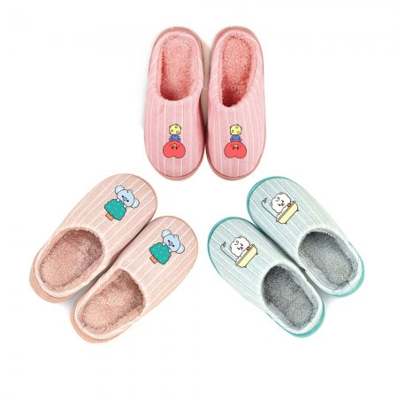 Kpop BTS Bangtan Boys Cotton Slippers Cartoon Cute Thick Bottom Non-slip Indoor Home Warm Slippers Autumn and Winter