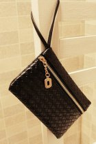 Stylish Black Braid Texture Lady Handbag