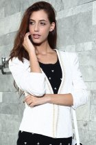 White Jacquard Jeweled Shawl Small Coat Korean Version Suit