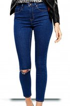 Dark Blue Womens Sexy Denim Pants Ripped Jeans