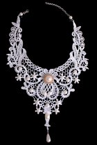 White Lace Pearl Embellished Bridal Necklace