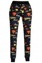Superman Signature Print Black Jogging Pants