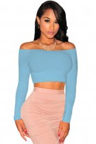 Blue Off-The-Shoulder Knit Crop Top