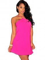 Rosy Strappy Halter Skater Dress