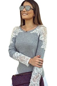 Lace Cutout Patchwork Grey Long Sleeve Top