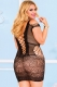 Plus Black Crotchet Mesh Hollow-out Mini Chemise Dress