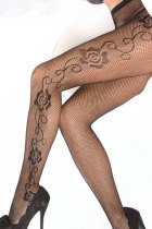 Black Fishnet Pantyhose With Rose 8066