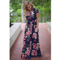 Short Sleeve Blue Floral Print Beach Long Dress With Pocket 0493