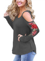 Women Cold Shoulder Rose Embroidered Long Sleeve Loose T- Shirt 092