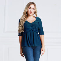 Women's Plus Size Ruched Tops Half Sleeve Blue 2012