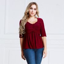 Women's Plus Size Ruched Tops Half Sleeve Red 2012