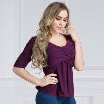 Women's Plus Size Ruched Tops Half Sleeve Purple 2012