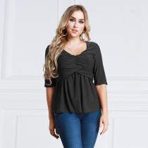 Women's Plus Size Ruched Tops Half Sleeve Black 2012