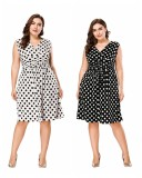 Plus Size Polka Dot Swing Dress 0025