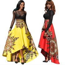 African Print High Low Maxi Skirt 0780