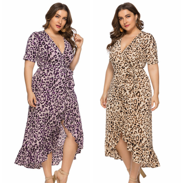 Leopard Print Plus Size Dress 0116