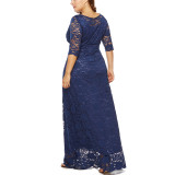 8 Colors Plus Size Wedding Lace Long Evening Dress 0092