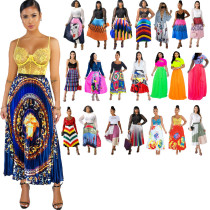African Print Long Pleated Skirts 8137