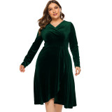 5 Colors Plus Size Long Sleeve Velvet Maxi Dress 0136