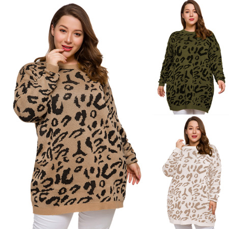 Plus Size Leopard Sweater 3167