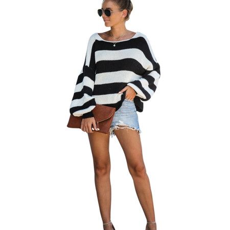 Black And White Stripe A Line Sweater 8007