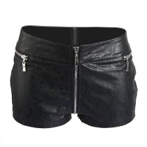 Black Floral Pattern PU Leather Shorts 1330