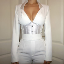 White Black Long Sleeve Corset Shirt G19562T