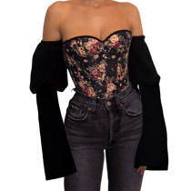 Off The Shoulder Floral Denim Corset Tops 19613