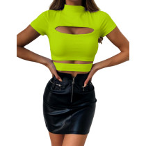 Mock Neck Slim Hollow Out Crop Top Sexy 5631