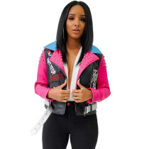 Women Fashion Studded Leather Jacket 19518