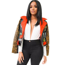 Tiger Print Leather Jacket Women 19515