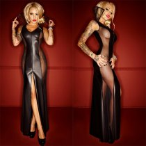 Mesh Side Slit Long Gown 663