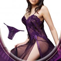 Purple Mesh And Lace Lingerie Gown
