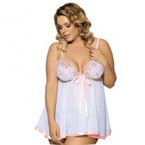 Two Piece Sequin Embroidered Sheer Net Babydoll Set