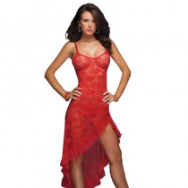 Asymmetrical Red Lace Gown