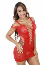 Red Fishnet Chemise Dress 092